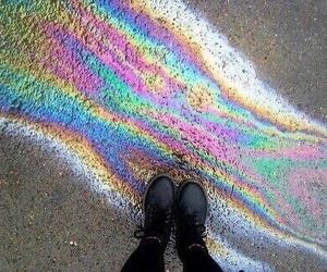 rainbow, grunge, and black image