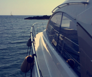 boat, sun, and yacht image