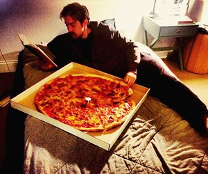 book, pizza, and boy image