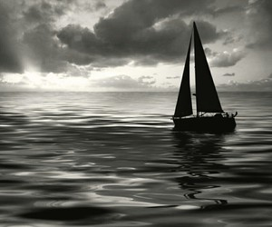 black and white, water, and boat image
