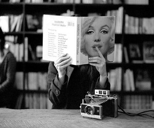 black and white, book, and old camera image