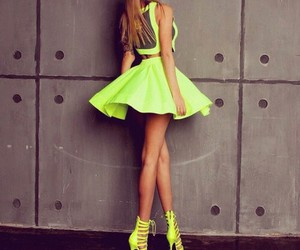 fashion, dress, and neon image