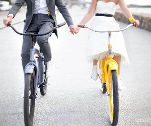 bike, blackandwhite, and couple image