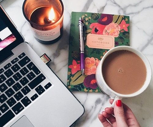 coffee, candle, and notebook image