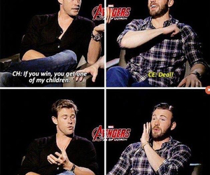 chris evans, chris hemsworth, and funny image
