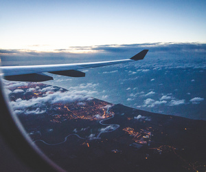travel, sky, and airplane image