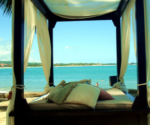 beach, bed, and sea image