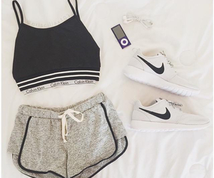 earphone, nike, and outfit image