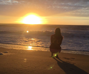 beach, girl, and sunsets image