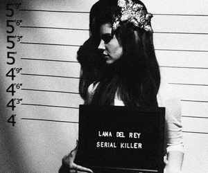 lana del rey, serial killer, and black and white image