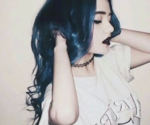 black, choker, and blue hair image