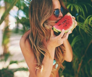 summer, girl, and watermelon image