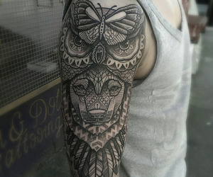 tattoo, boy, and lion image