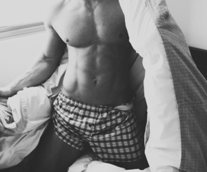 abs, black and white, and boys image