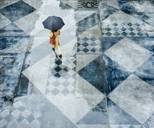 rain, trench, and umbrella image