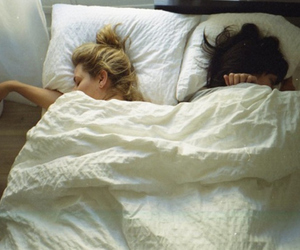 girl, bed, and friends image