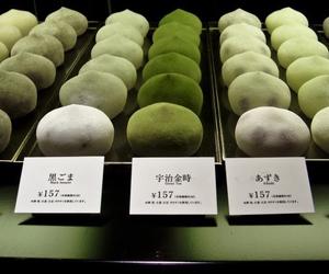 mochi, food, and green tea image