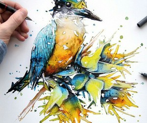 art, bird, and colours image