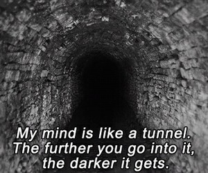dark, tunnel, and mind image