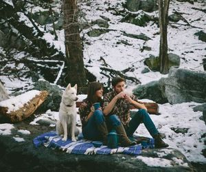 dog, couple, and snow image