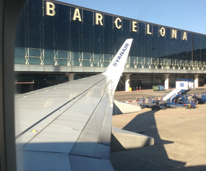 airport, Barcelona, and blue image
