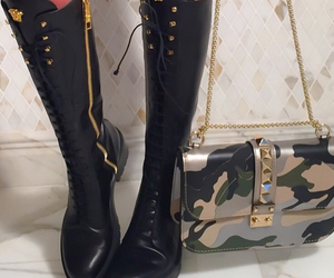 Versace, boots, and black image