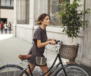 fashion, girl, and bike image