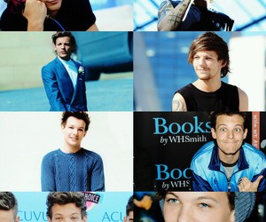 one direction, louis tomlinson, and blue image