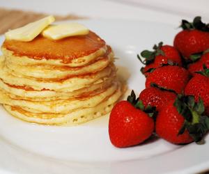 pancakes, strawberries, and fashion image