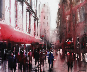 watercolor, painting, and paris image