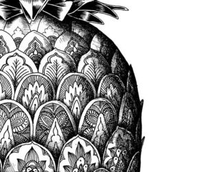 black and white, pineapple, and art image