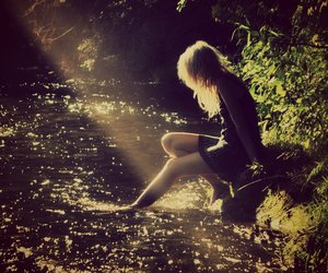 blonde, creek, and forest image