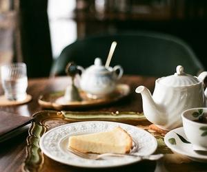 tea, food, and cheesecake image