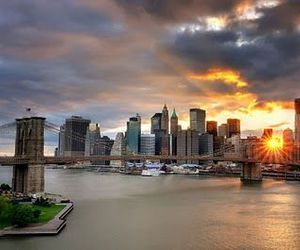 city, nyc, and sunset image