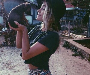 girl, style, and dog image