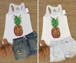 jean, pineapple, and sandals image