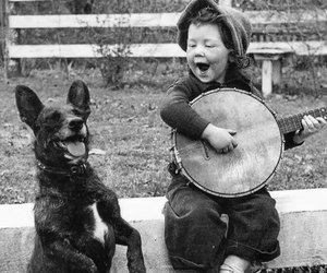 dog, child, and music image