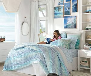 bedding, bedroom, and blue image