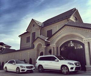 big house, mercedes, and villa image