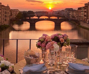 sunset, romantic, and flowers image