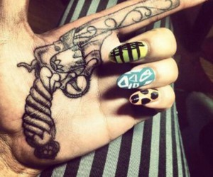 tattoo, gun, and nails image