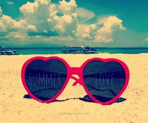 beach, girl, and heart image