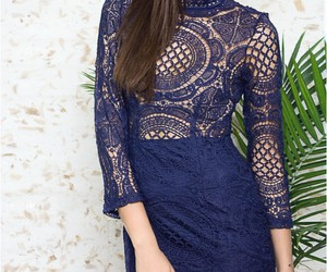 blue dresses, lace dresses, and long sleeve dresses image