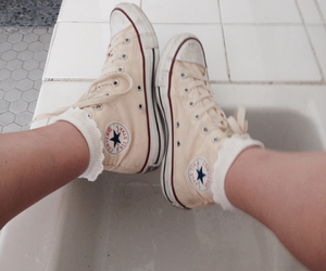 converse, high tops, and legs image