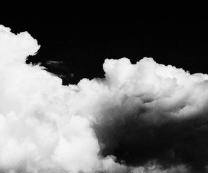 sky, clouds, and black and white image