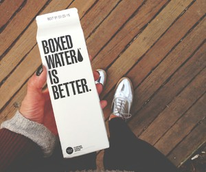 water, boxed water, and nails image