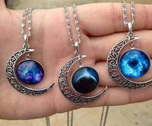 moon, necklace, and blue image