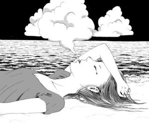 girl, black and white, and smoke image