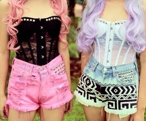 hair, pink, and shorts image
