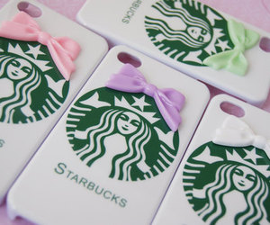 iphone, starbucks, and pink image